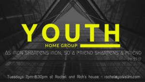 Youth Home Group - Tuesdays 7 - 8:30 p.m. at Rachel and Rich's house